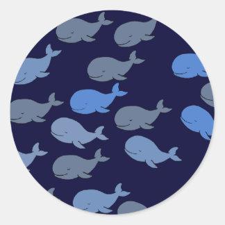 cute whales blue classic round sticker