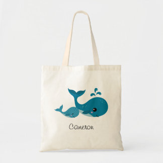 Cute whales personalized name tote bag for kids