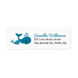 Cute whales return address label