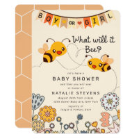 Cute What will it Bee Gender Reveal Baby Shower Invitation