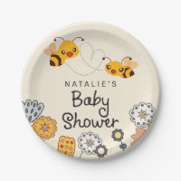 Cute What will it Bee Gender Reveal Baby Shower Paper Plate