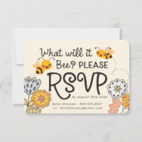 Cute What will it Bee Gender Reveal Baby Shower RSVP Card