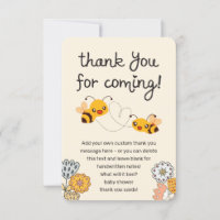 Cute What will it Bee Gender Reveal Baby Shower Thank You Card