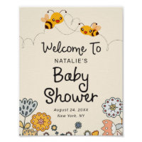 Cute What will it Bee Reveal Baby Shower Welcome Poster