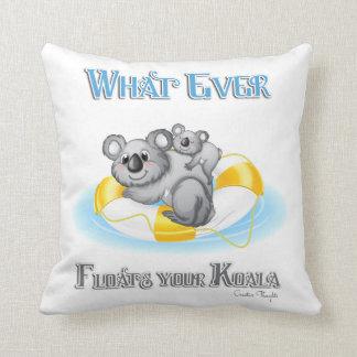 CUTE Whatever Floats your Koala Throw Pillow