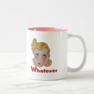 Cute Whatever girl Two-Tone Coffee Mug
