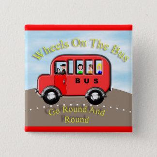 Cute Wheels on the Bus Nursery Rhyme Button Badge