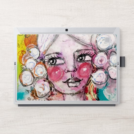 Cute Whimisical Girl Artstic Bold Colorful Modern HP Laptop Skin