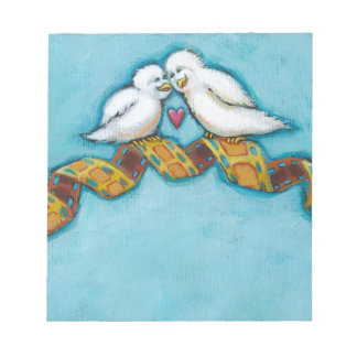 Cute whimsical art love bird pair romantic movie memo notepads