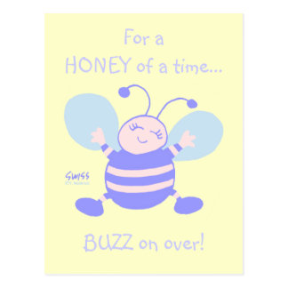 Cute Whimsical Baby Bee 1st Birthday Party Postcard