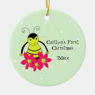 Cute Whimsical Bee Baby's First Christmas Ceramic Ornament