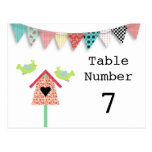 Cute Whimsical Birds And Birdhouse Table Numbers Postcards