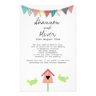 Cute Whimsical Birds And Birdhouse Wedding Info Customised Stationery