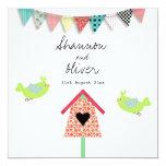 Cute Whimsical Birds And Birdhouse Wedding Invite