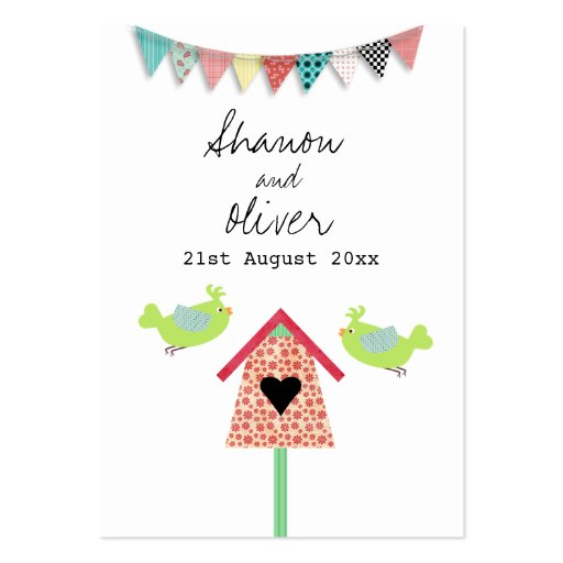 Cute Whimsical Birds Wedding Favor Tags Large Business Cards (Pack Of 100)
