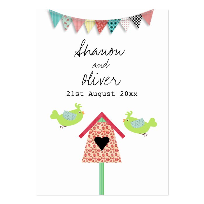 Cute Whimsical Birds Wedding Favor Tags Large Business Card