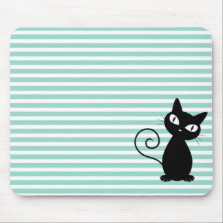 Cute Whimsical Black Cat on Stripes Mouse Pad