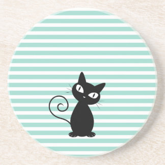 Cute Whimsical Black Cat on Stripes Sandstone Coaster
