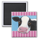 Cute Whimsical Black & White Cow Illustration 2 Inch Square Magnet
