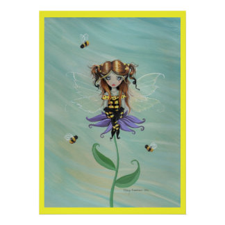 Cute Whimsical Bumble Bee Fairy Fantasy Poster