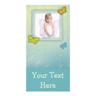 cute whimsical butterflies photo frame card