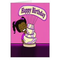 Cute Whimsical Cake Birthday Card
