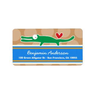 Cute Whimsical Cartoon Alligator Address Labels