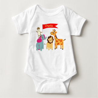 Cute Whimsical Cartoon Animals Personalized Baby Bodysuit