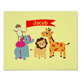 Cute Whimsical Cartoon Animals Personalized Poster
