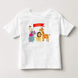 Cute Whimsical Cartoon Animals Personalized Toddler T-shirt