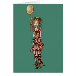 Cute Whimsical Cartoon of Girl Holding Balloon Card