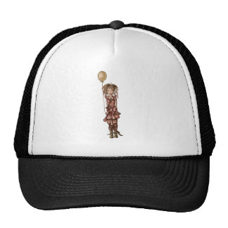 Cute Whimsical Cartoon of Girl Holding Balloon Trucker Hat