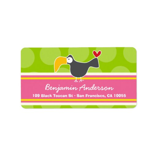 Cute Whimsical Cartoon Toucan Bird Address Labels Personalized Address Labels