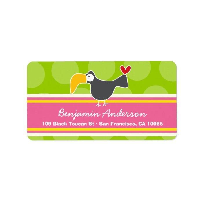 Cute Whimsical Cartoon Toucan Bird Address Labels