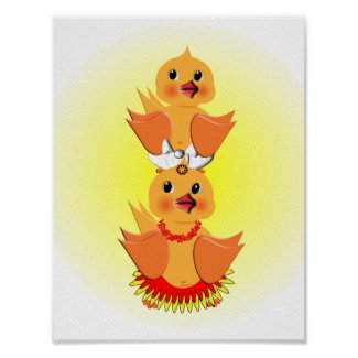Cute Whimsical Chick Ducks Nursery Poster Print