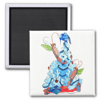 Cute Whimsical Christmas Fairy Shrimp and Tree Magnet