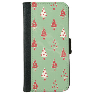 Cute Whimsical Christmas Tree Pattern iPhone 6/6s Wallet Case