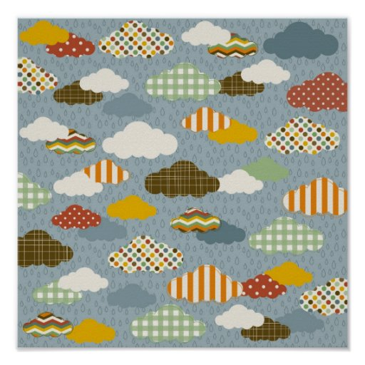 Cute Whimsical Clouds Patterns of Plaid Polka Dots Posters