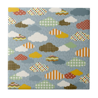 Cute Whimsical Clouds Patterns of Plaid Polka Dots Tile