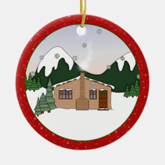 Cute Whimsical Country Cottage in Winter Scene Christmas Ornament