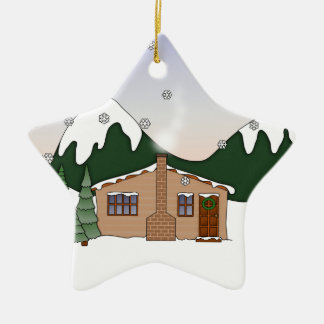 Cute Whimsical Country Cottage in Winter Scene Christmas Tree Ornament