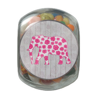Cute Whimsical Elephant on Wood Design and Embosse Glass Jars