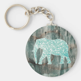 Cute Whimsical Elephant on Wood Design Basic Round Button Keychain