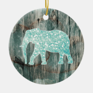 Cute Whimsical Elephant on Wood Design Ceramic Ornament