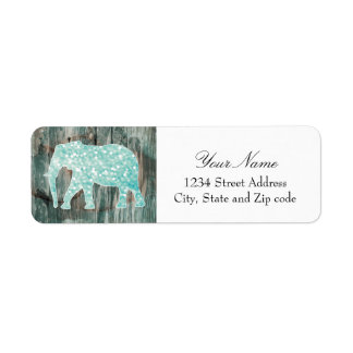 Cute Whimsical Elephant on Wood Design Label
