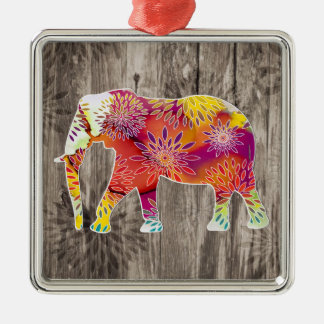 Cute Whimsical Elephant on Wood Design Metal Ornament