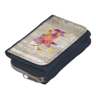 Cute Whimsical Elephant on Wood Design Wallets