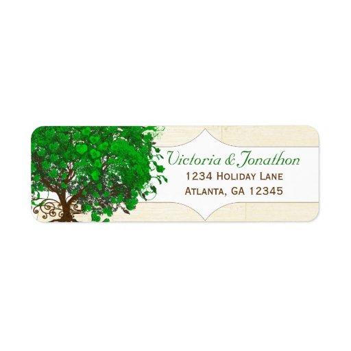Cute Whimsical Emerald Green Heart Leafed Tree Return Address Label
