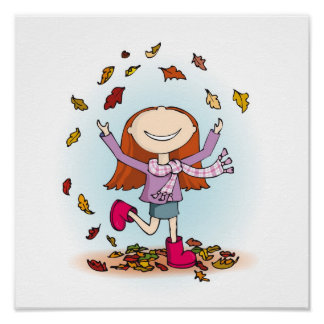 Cute whimsical fall girl kids decor art