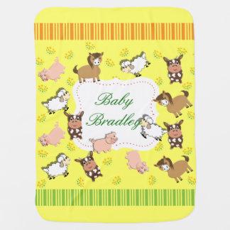 Cute Whimsical Farm Animals Theme Stroller Blanket